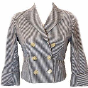 Theory Double Breasted Pinstripe Cropped Blazer 2